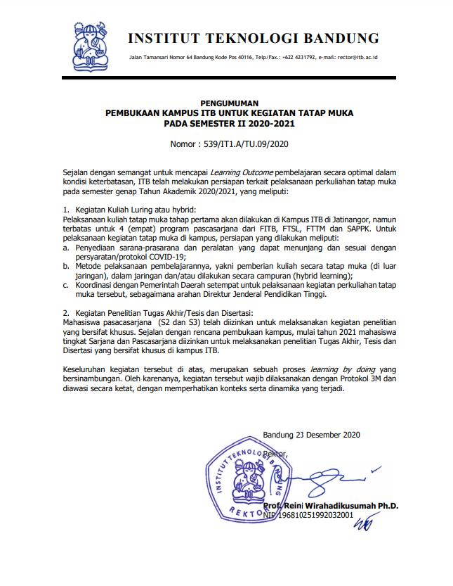PENGUMUMAN PEMBUKAAN KAMPUS ITB UNTUK KEGIATAN TATAP MUKA PADA SEMESTER II 2020-2021